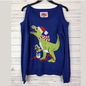 Typsy Elves Christmas Holiday Sweater Dinosaur S
